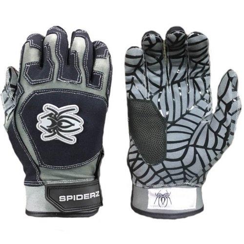 Spiderz Adult WEB Batting Glove Silicone Spider Web Palm (Black/Grey, X-Large)
