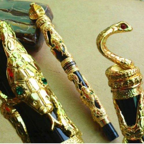 jinhao-vintage-style-gray-golden-terrorist-cobra-medium-nib-fountain-pen-new
