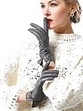 NappaNovum Women's Classic Italian Nappa Leather Gloves Lambskin Winter Comfort Lining Fashion Gloves (Touchscreen or Non-Touchscreen) (M, Grey)