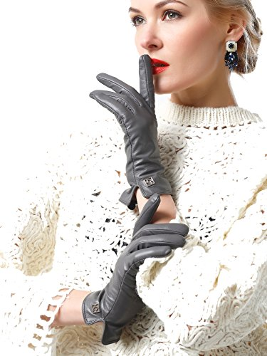 Medium Grey Leather (NappaNovum Women's Classic Italian Nappa Leather Gloves Lambskin Winter Comfort Lining Fashion Gloves (Touchscreen or Non-Touchscreen) (M, Grey))