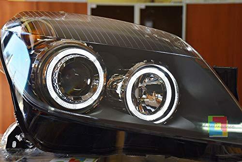 FARI Anteriori COMPATIBILI con Opel Astra H 2004-2007 Neri con Angel Eyes LENTICOLARI