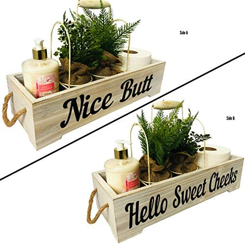 Athena's Elements Farmhouse Bathroom Decor Box – Funny Hello Sweet Cheeks Rustic Shabby Chic Bathroom Decoration – Toilet Tank Accessories Holder – Rustic White 51sxTftzD1L