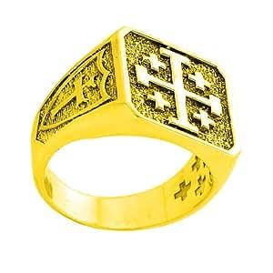 Amazon.com: Men's 10k Yellow Gold Crusaders Band Jerusalem ...
