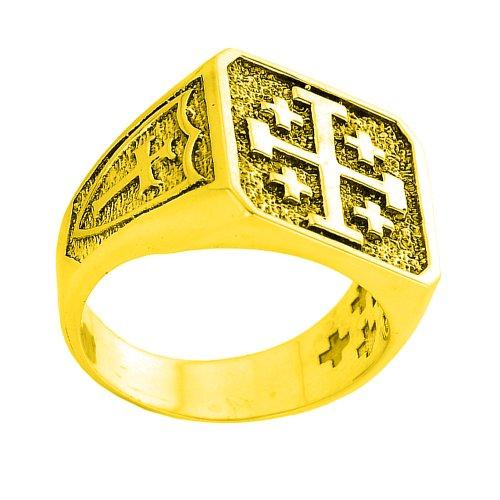 Men's 10k Yellow Gold Crusaders Band Jerusalem Cross Ring (Size 14) - Jerusalem Cross Ring Size 14