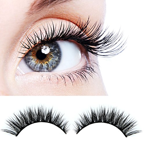 ELVASEN Handmade 3D luxurious 100% Real Mink Natural Long Cross False eyelashes - Reusable Makeup Crisscross Fake eye lashes Extension- Eyelash Strips (2 Pair)]()