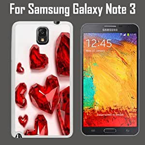Red Heart Shaped Diamond Custom Case/ Cover/Skin *NEW* Case for Samsung Galaxy Note 3 - White - Plastic Case (Ships from CA) Custom Protective Case , Design Case-ATT Verizon T-mobile Sprint ,Friendly Packaging - Slim Case