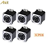 ANET Stepper Motor for 3D Printer DIY CNC Robot, 1.8 Degree 0.9A 0.4N.M 42mm Stepper Stepping Motor Drive with 90cm Lead Cable for 3D Printer - Black (5PCS)