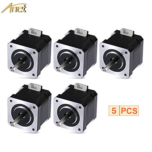 ANET Stepper Motor for 3D Printer DIY CNC Robot, 1.8 Degree 0.9A 0.4N.M 42mm Stepper Stepping Motor Drive with 90cm Lead Cable for 3D Printer - Black (5PCS) by Anet