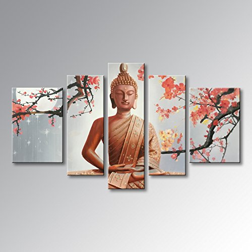 Winpeak Pure Handmade Framed Large Canvas Art Buddha Oil Paintings on Canvas 5 paenl Wall Decor for Living Room Stretched Ready to Hang (68