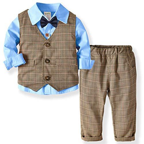 ZOEREA Baby Jongens Kleding Set Doop Bruiloft Gestreept Pak Strik Shirt + Vest + Broek Heer 3-Delige Set