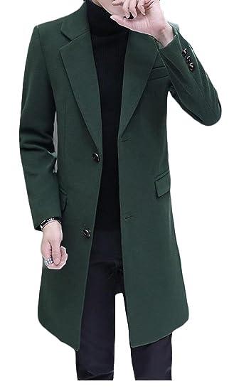 20f0161362867 GAGA Men Turn-down Collar Single Breasted Wool Coat Overcoat at Amazon  Men s Clothing store