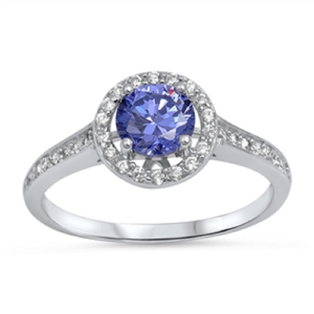 CloseoutWarehouse Simulated Tanzanite Cubic Zirconia Embraced Round Ring Sterling Silver Size 7