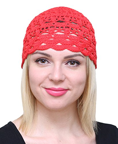 (NFB Fascinator Hats for Women Ladies Summer Beanie Cotton Cloche Crochet caps (Red))
