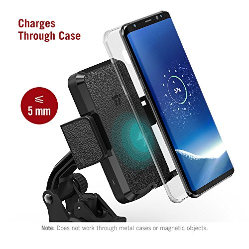 TaoTronics Phone Holder for Car, Wireless Car Charger Mount, Qi Fast Charge Phone Mount for Samsung Galaxy S9 S8+ S7 Edge S6 Edge+ Note 8 and Standard Charge for iPhone X 8 Plus and Qi-Enabled Device