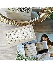 Grey Jewellery Box 2 Layer Mirror Rings Earrings Bracelet Gift Storage