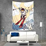 Anhuthree Kids Decor Wall Tapestry Cute Boy Skier Sliding Down and Jumping from The Snow Cliffs with Dog Graphic Home Decorations for Living Room Bedroom 54W x 84L INCH Multicolor