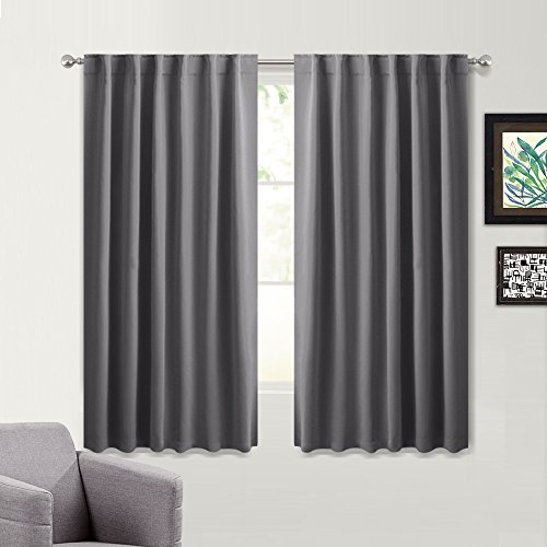 Design Window Panel (Blackout Curtains for Bedroom 54 Inches Length - Drapes with 14 Back Loops Plus Rod Pocket Design by PONY DANCE, Each Panel 52
