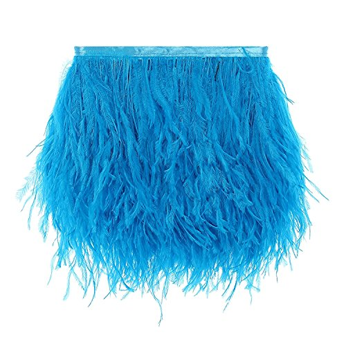 CENFRY Pack of 2yards Ostrich Trims Fringe Feathers Dress Sewing Crafts Costumes Decoration (Turquoise)