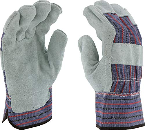 (West Chester 528 Select Split Cowhide Palm Plasticized Cuff Gloves, Large, Gray Red Blue (Pack of 12))