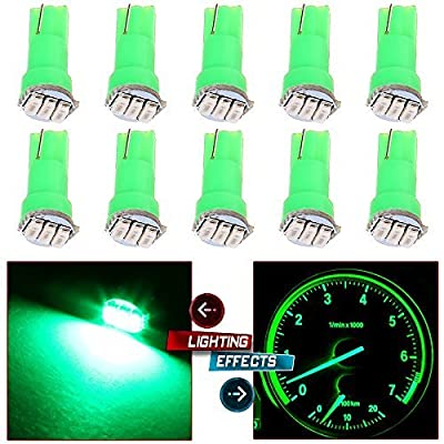 cciyu 10 Pack Car T5 3SMD 3014 Instrument Dashboard Green LED Bulbs light 17 37 73 2721 74 Fit 1992-2003 Subaru SVX Impreza Legacy SVX Forester 1993 1995 Plymouth Acclaim 1999 Suzuki Grand Vitara: Automotive