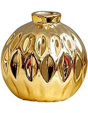 B Blesiya Mini keramische vazen - decoratieve vaas bloemflessen - handgemaakte Scandinavische stijl bloempot - Home Decor Ornament Desktop Accessoires - 2 kleuren - gouden, zoals beschreven