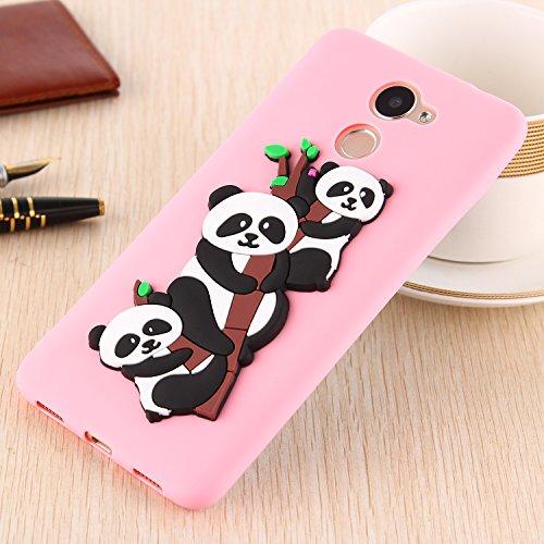 Funda para Huawei Enjoy 7 Plus / Y7 Prime , IJIA Puro Verde Adorable Panda TPU Silicona Suave Cover Tapa Caso Parachoques Carcasa Cubierta Teléfono De Vuelta Shell Case para Huawei Enjoy 7 Plus / Y7 P Pink