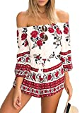 Women Jumpsuit,L'ananas Summer Off Should Boho Ethnic Style Floral Printed Elastic Waist Tassel Knot Short Romper Overalls (CN-S/US-2, White+Red)