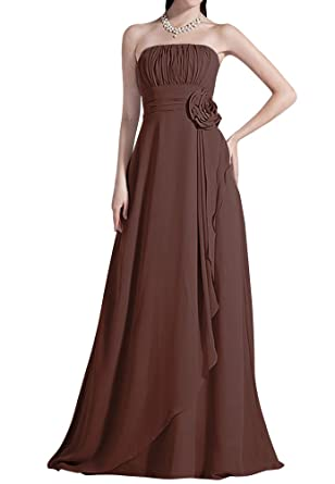 Yougao Yougao Strapless Bridesmaid Chiffon Prom Dresses Long Evening Gowns US 6 Chocolate