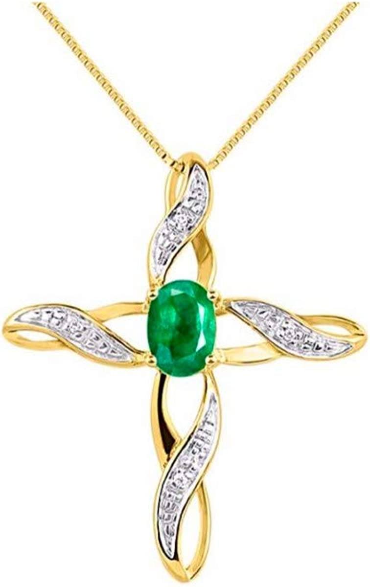 Diamond /& Emerald Cross Pendant Necklace Set In White Gold Plated or Yellow Gold Plated Silver
