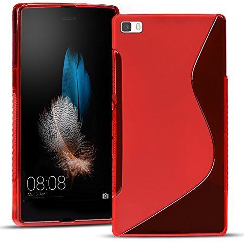 Huawei P8 Silikon Hülle Case in Rot Cover P8 Schutzhülle Handyhülle Cover Silikonhülle Rückschale