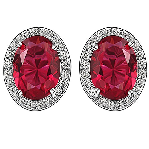FENDINA Royal 18K White Gold Plated Oval Cut Halo Pierced Stud Earrings Created Red Ruby Birthstone Fashion Earrings Jewelry for (Kwiat Star Earrings)