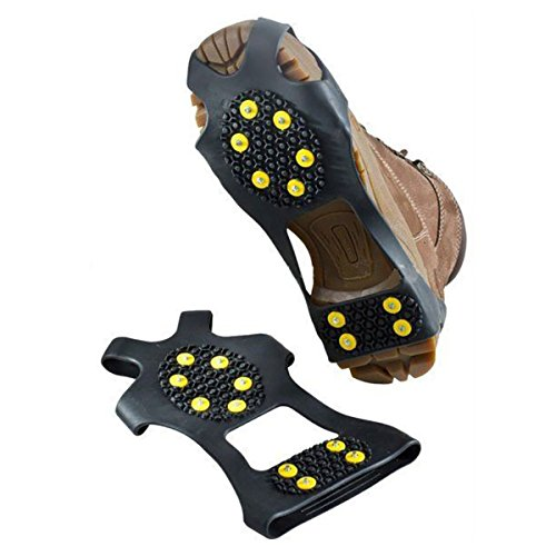 (2 Pieces) Leebei Non-slip shoe cover Ice Snow Grips Over Shoe Boot Traction Cleat Rubber Spikes Anti Slip Mountaineering Non-slip Shoe Cover 10-Stud Slip-on Stretch Footwear (Yellow, Large) by Leebei (Image #1)