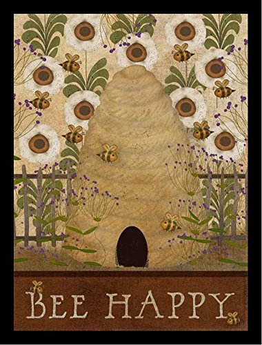 Buyartforless Framed Bee Happy by Beth Albert 12x16 Art Print Poster Bee Hive Textual Art Made in The USA!