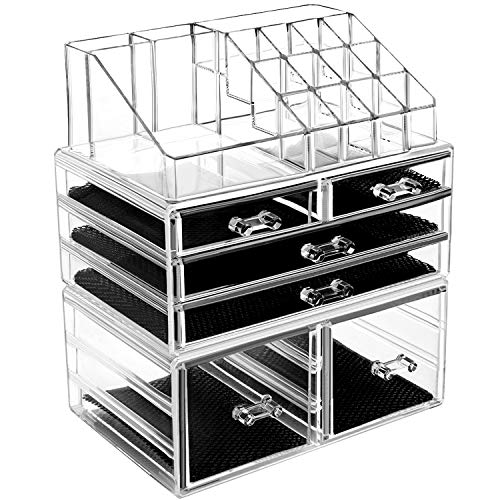- hblife Makeup Organizer 3 Pieces Acrylic Cosmetic Storage Drawers and Jewelry Display Box