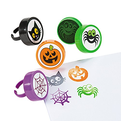 Fun Express - Halloween Ring Stampers for Halloween - Stationery - Stamps - Stamps - Self Inking - Halloween - 24 Pieces -