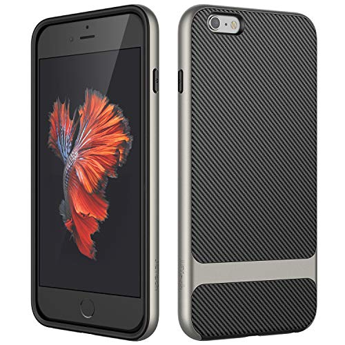 JETech Case for Apple iPhone 6s Plus and iPhone 6 Plus, Slim Protective Cover with Shock-Absorption, Carbon Fiber Design, Grey (Jets Iphone 6 Plus Case)