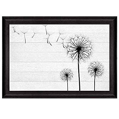 Illustration of Dandelion Silhouettes Over White Wooden Panels Nature Framed Art, With Expert Quality, Grand Composition