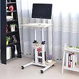 Soges Adjustable Standing Desk Stand up Desk on Wheels Computer Desk Workstation with Wheels Moving Desk, White Maple XG01-03