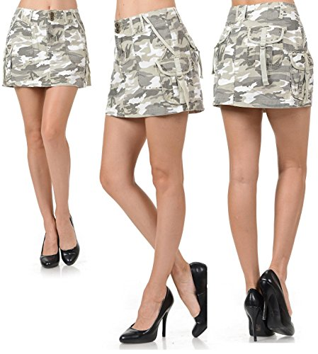 Camo Cargo Skirt (jack david womens Juniors Sexy Army camo Camouflage Denim jeans CARGO Mini skirt (M, CAMO CARGO GRAY/WHITE MINI 117))