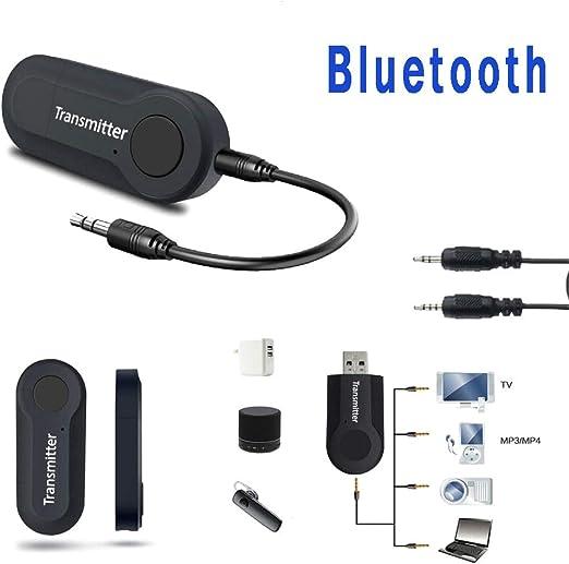 Mioloe Transmisor Bluetooth para TV PC 3.5mm AUX Computadora USB Audio Digital Adaptador de Audio inalámbrico de Doble Enlace: Amazon.es: Jardín