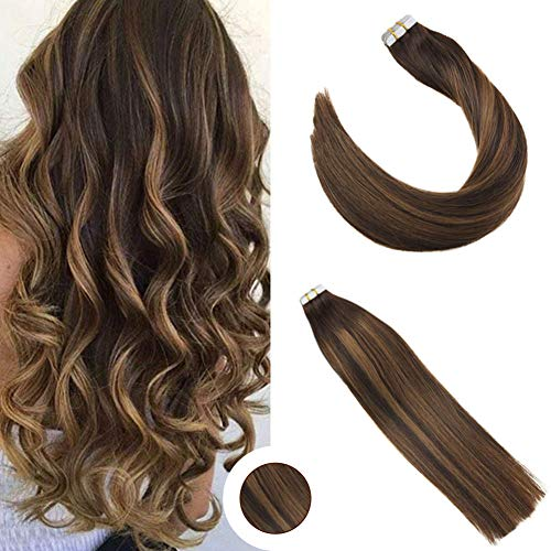 Ugeat 14inchs Tape-in Hair Extensions Skin Weft Two Toned Tape in Darkest Brown to Light Brown #8 Double Sided Tape Extensions 50Gram