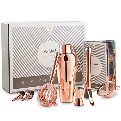 VonShef Premium Parisian Cocktail Shaker Barware Set in Gift Box with Recipe Guide, Cocktail Strainers, Twisted Bar Spoon, Jigger, Muddler and Pourers, Copper, 9 Piece by VonShef (Image #1)