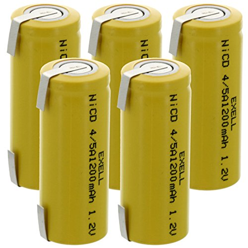 5x Exell 4/5A 1.2V 1200mAh NiCD Rechargeable Batteries with Tabs for meters, radios, hybrid automobiles, high power static applications (Telecoms, UPS and Smart grid), radio controlled devices -