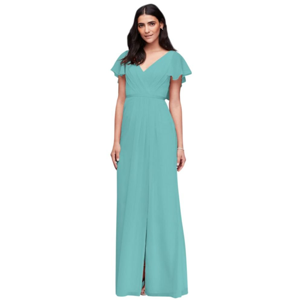 David\'s Bridal Flutter Sleeve Crinkle Chiffon Bridesmaid Dress Style ...