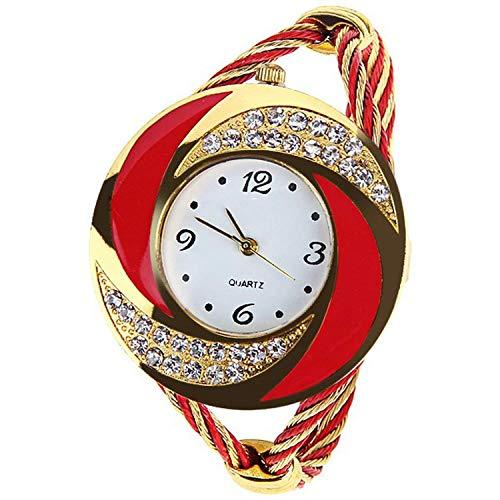 Perfect style Women Casual Wristwatch Bracelet Round Dial Crystal Quartz Elegant Fashion Watch Clock,Red