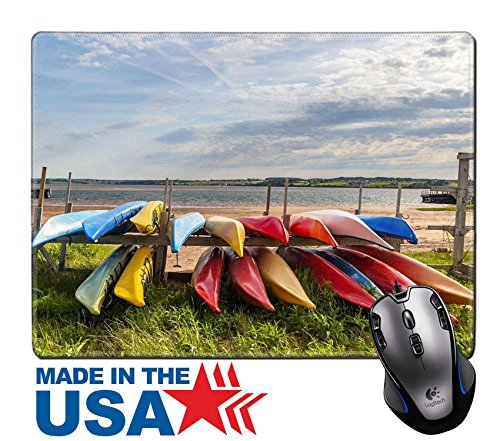 "MSD Unpremeditated Rubber Mouse Pad/Mat with Stitched Edges 9.8"" x 7.9"" IMAGE ID 29623717 Colorful kayaks stored along the shore in North Rustico Prince Edward Holm Canada"