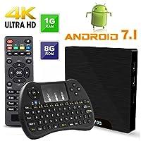 Android 7.1 Smart TV Box - Viden W95 2018 New Generation Android TV Box with Amlogic S905W 64Bits Quad-Core, 1GB+8GB, Wi-Fi, HDMI, USB2, 4K UHD Web TV Box + Mini Wireless Keyboard with Air Remote