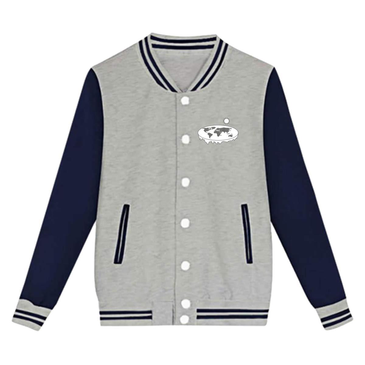 Tina TN Flat Earth Society Teens Boys Girl Varsity Baseball Jacket Long Sleeve Sport Baseball Uniform Jacket Coat Sweater Black