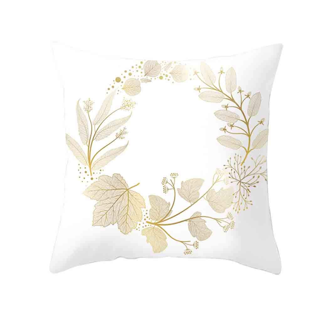 Pet1997 Golden Leaf Hug Pillowcase, Gold Plant Printed Polyester Pillow Case Cover, Sofa Cushion Cover, Home Decor, Luxury Bedding,18 X18 Inch (A)
