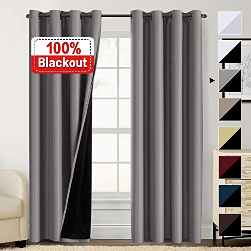 100% Blackout Curtains for Bedroom, Thermal Insulated Lined Curtains 84 Inches Double Layer Curtains 2 Panels, Energy Saving Curtains Grommet Window Drapes, Grey with Black Liner